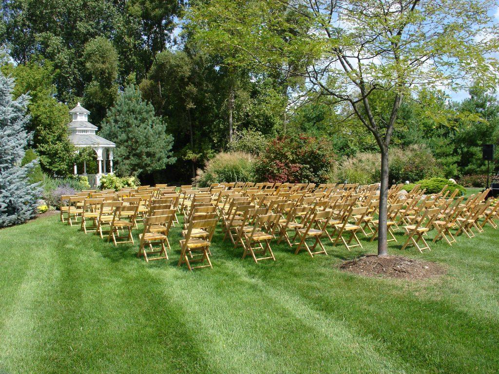 Outdoor wedding chair setup