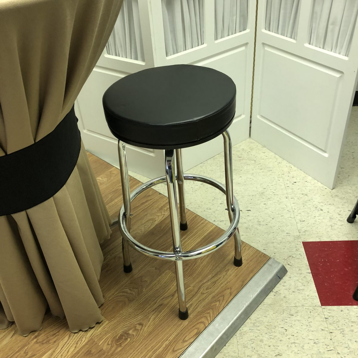 Black Padded Seat Bar Stool Romeo Party Rental